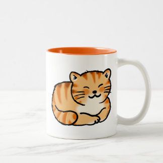 cute fluffy ginger and white cat Two-Tone coffee mug