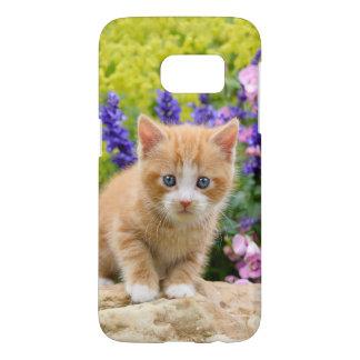Cute Fluffy Ginger Baby Cat Kitten in Flowers -