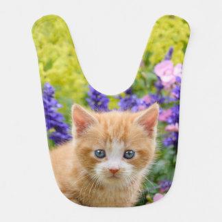 Cute Fluffy Ginger Baby Cat Kitten in Flowers Pet Baby Bibs