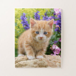Cute Fluffy Ginger Baby Cat Kitten in Flowers Pet Jigsaw Puzzle