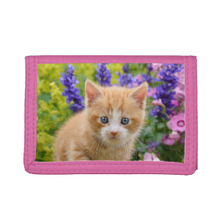 Cute Fluffy Ginger Cat Kitten in Flowers Pet Photo Tri-fold Wallet