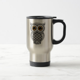 Cute Fluffy Grey Owl on a Branch Stainless Steel Travel Mug