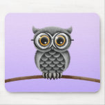 Cute Fluffy Grey Owl with Glasses, Purple Mousemats