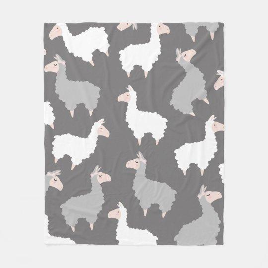 Cute Fluffy Grey & White Llamas Fleece Blanket