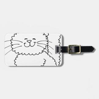 Cute Fluffy Happy Cat Luggage Tag