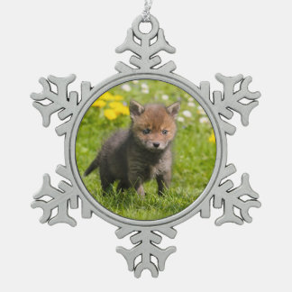 Cute Fluffy Red Fox Cub Wild Baby Animal Xmasdecor Snowflake Pewter Christmas Ornament