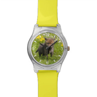 Cute Fluffy Red Fox Cub Wild Baby girly dial-plate Watch