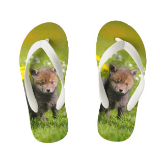 Cute Fluffy Red Fox Kit Cub Wild Baby Animal  Kids Flip Flops
