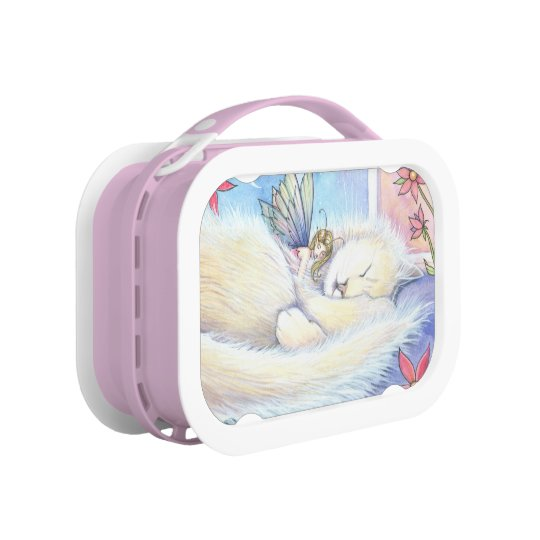 Cute Fluffy Sleeping Cat and Fairy Lunch Box