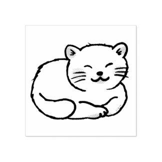cute fluffy white cat cartoon rubber stamp