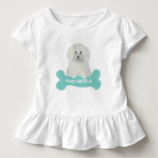 Cute Fluffy White Poodle Puppy Dog Aqua Monogram Toddler T-Shirt
