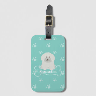 Cute Fluffy White Poodle Puppy Dog Lover Monogram Luggage Tag