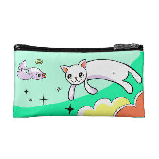 Cute Flying Cat Drawing Teal Makeup Case Cosmetic Bags