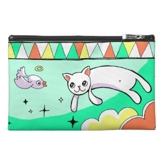 Cute Flying Cat Drawing Teal Travel Case Travel Accessories Bags