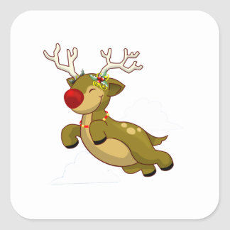 Cute Flying Christmas Reindeer With Clouds Square Sticker