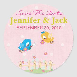 Cute Flying Love Birds Save the date Sticker