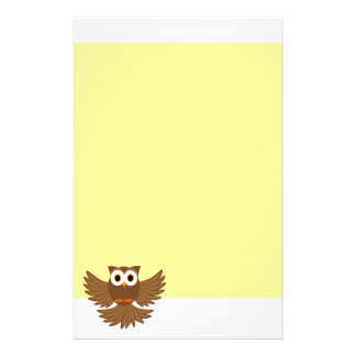 Cute Flying Night Owl Cartoon Stationery