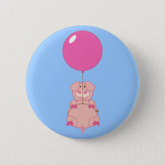 Cute Flying Pig and Balloon 6 Cm Round Badge