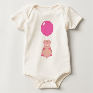 Cute Flying Pig and Balloon Baby Bodysuit