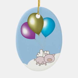 Cute Flying Pig and Balloons Art Ceramic Oval Decoration