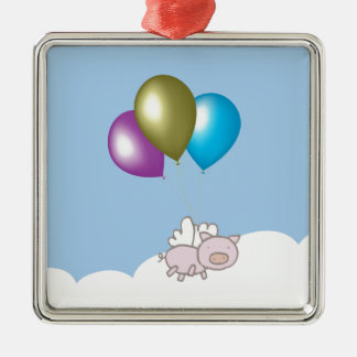 Cute Flying Pig and Balloons Art Christmas Ornament