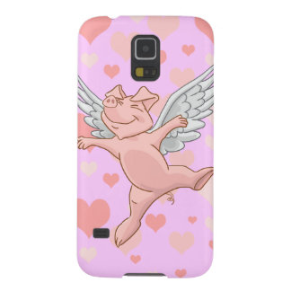 Cute Flying Pig and Pink Hearts Galaxy S5 Cases