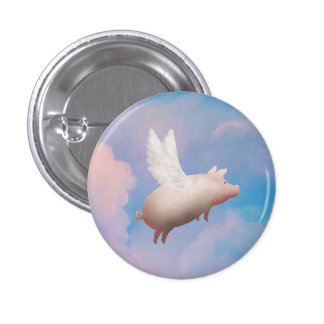 cute flying pig button