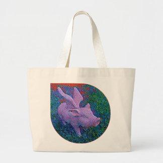 Cute flying pig mosaic large tote bag