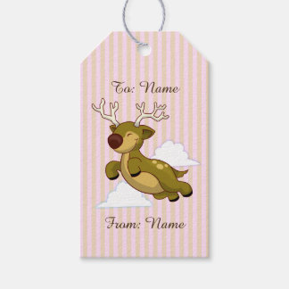 Cute Flying Reindeer on Pink and Tan Stripes Gift Tags