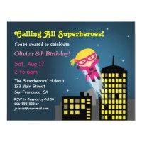 Cute Flying Superhero Girl Girls Birthday Party Card