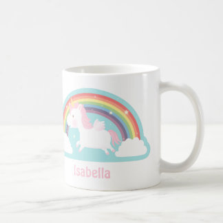 Cute Flying Unicorn and Rainbow Girls Mug