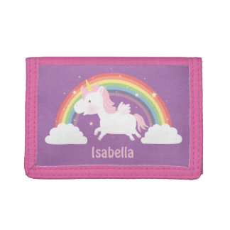 Cute Flying Unicorn and Rainbow Girls Wallet