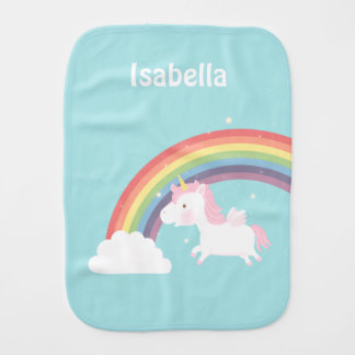 Cute Flying Unicorn Rainbow For Baby Girl Burp Cloths