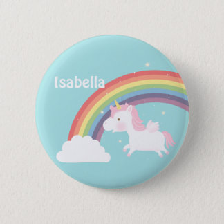 Cute Flying Unicorn Rainbow For Girls 6 Cm Round Badge