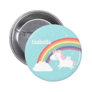 Cute Flying Unicorn Rainbow For Girls 6 Cm Round Badge