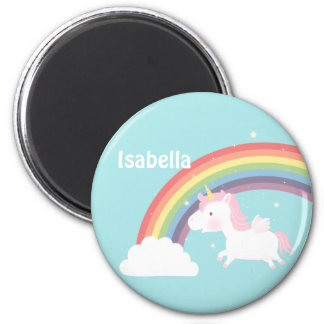 Cute Flying Unicorn Rainbow For Girls 6 Cm Round Magnet