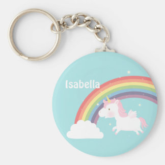 Cute Flying Unicorn Rainbow For Girls Basic Round Button Key Ring