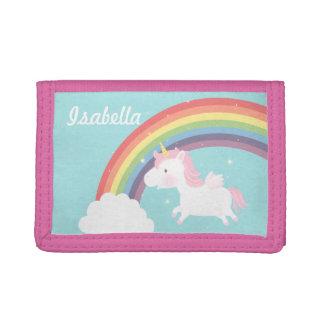 Cute Flying Unicorn Rainbow For Girls Tri-fold Wallet