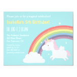 Cute Flying Unicorn Rainbow Girls Birthday Party 11 Cm X 14 Cm Invitation Card