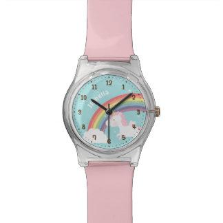 Cute Flying Unicorn Rainbow Girls Name Watch