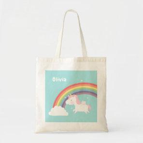 Cute Flying Unicorn Rainbow Girls Personalised Bag