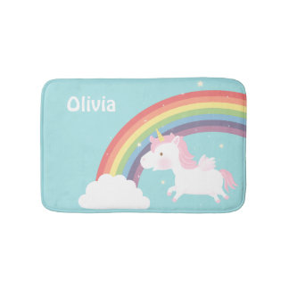 Cute Flying Unicorn Rainbow Girls Room Decor Bath Mat