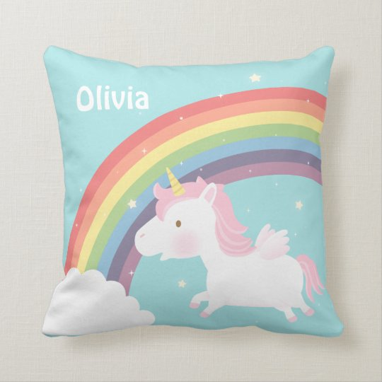 Cute Flying Unicorn Rainbow Girls Room Decor Cushion