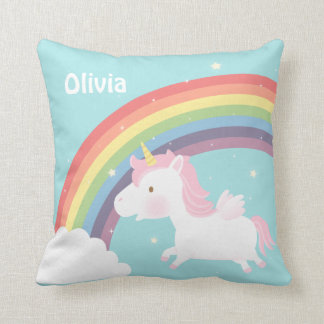 Cute Flying Unicorn Rainbow Girls Room Decor Cushion