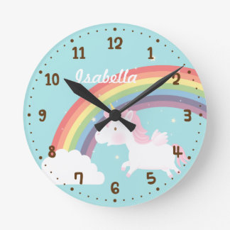 Cute Flying Unicorn Rainbow Girls Room Decor Round Clock