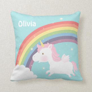 Cute Flying Unicorn Rainbow Girls Room Decor Throw Pillow