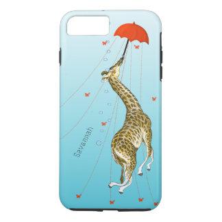 Cute Flying Vintage Giraffe with Umbrella on Aqua iPhone 7 Plus Case