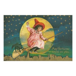 Cute Flying Witch Black Cat Full Moon Art Photo