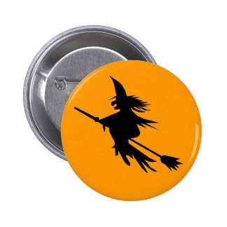 Cute Flying Witch Button for Halloween