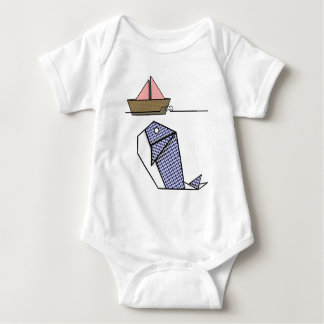 Cute Folder Paper Whale Baby Bodysuit